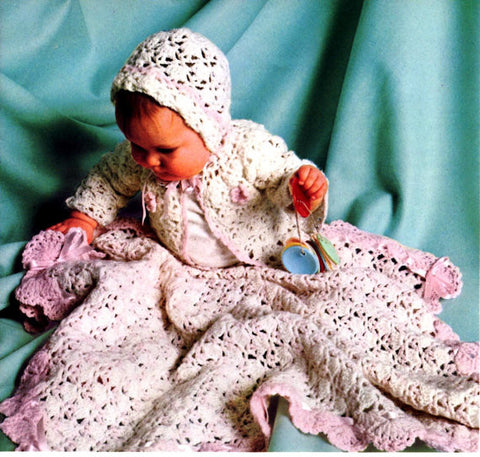Vintage Crochet Baby Blanket Pattern Shell Blanket Hat Sweater