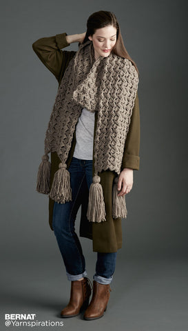 free crochet pattern bernat super scarf pump up the volume