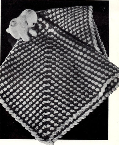 Vintage Crochet Pattern Shell Stitch Baby Blanket Instant Download