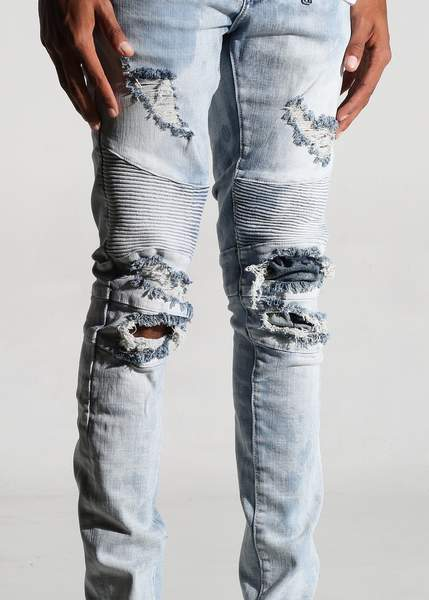 Braxton Biker Denim (Light Blue Bleach Acid)