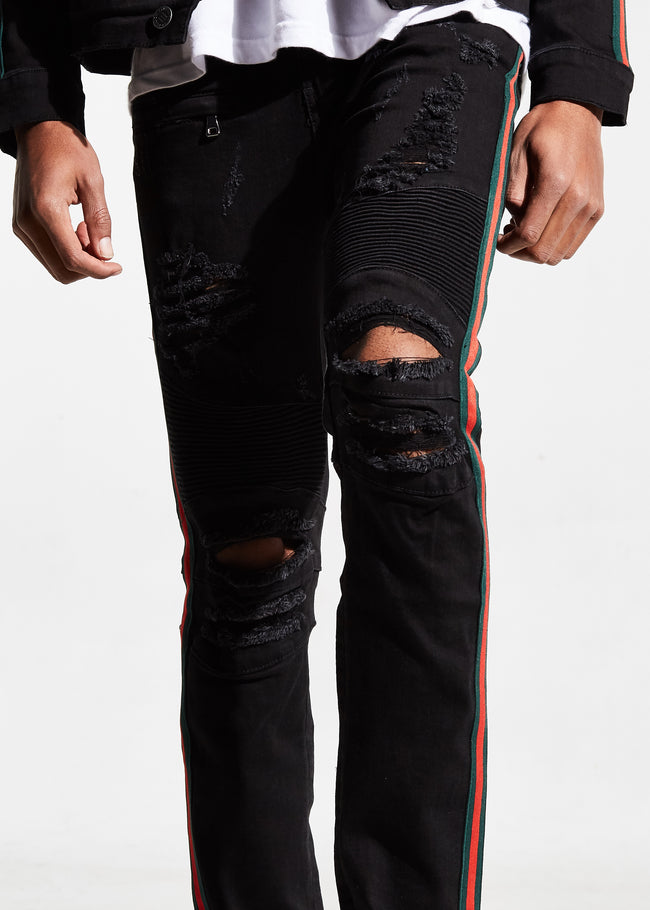 Tariq Biker Denim (Jet Black)