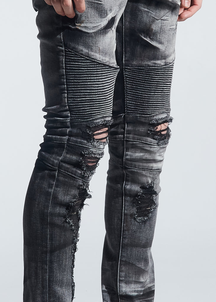 Hayes Biker Denim (Distressed Grey Wash)