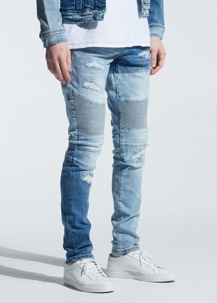 Langford Biker Denim (Patchwork Light Indigo)