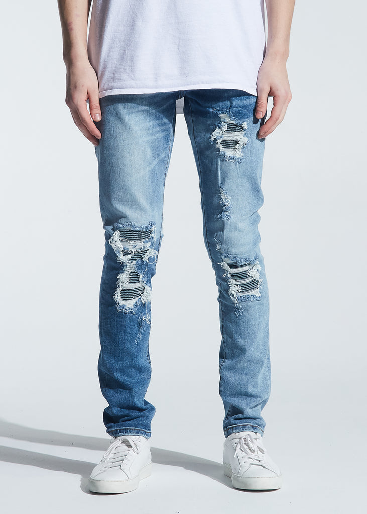 Langford Rip & Repair Denim (Patchwork Light Indigo)