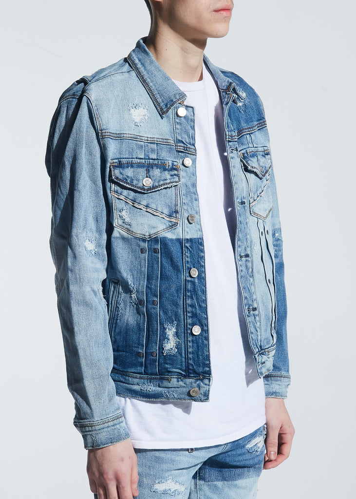 Langford Denim Jacket (Patchwork Light Indigo)