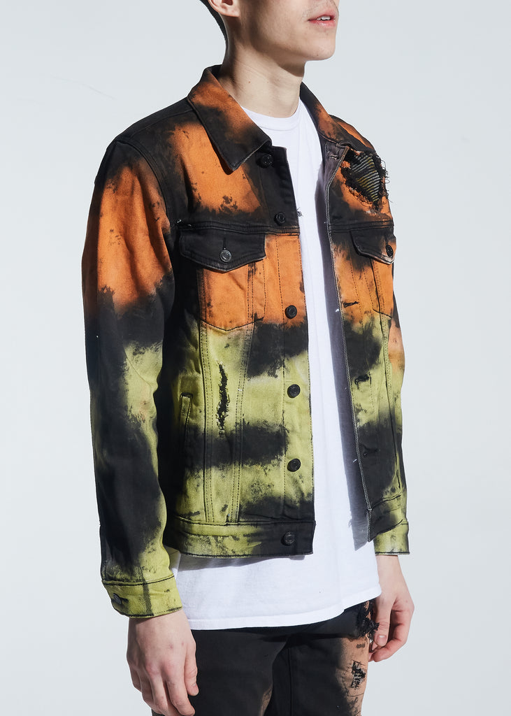 Walker Denim Jacket (Rasta Tie Dye)