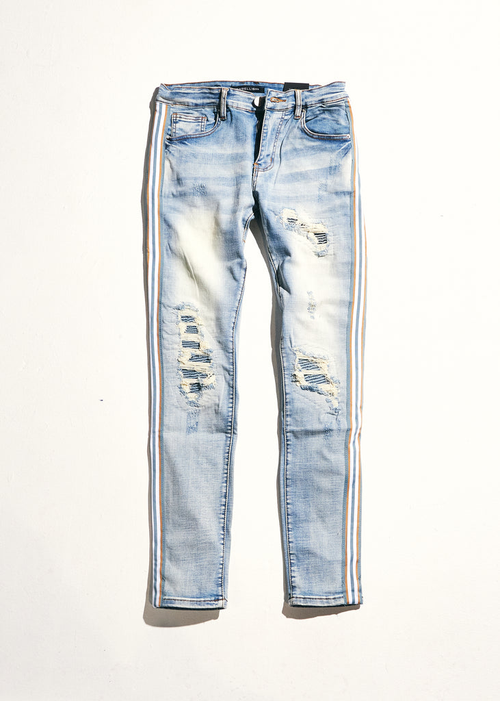Willups Stripe Denim (Blue/Tan)