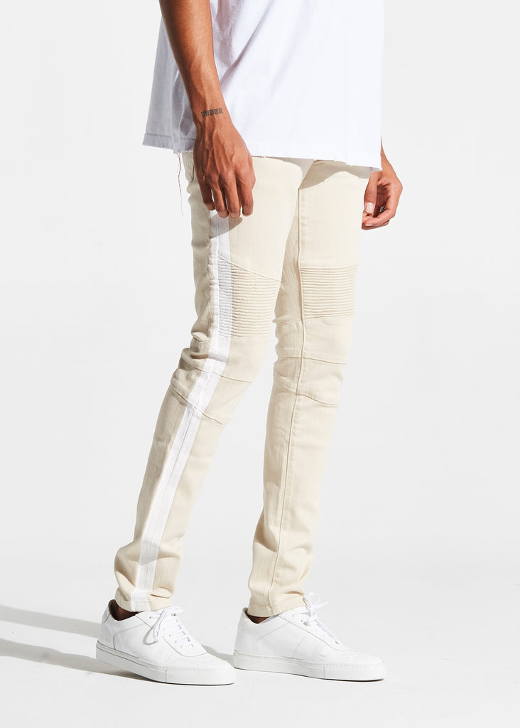 Racer Biker Denim (Tan)