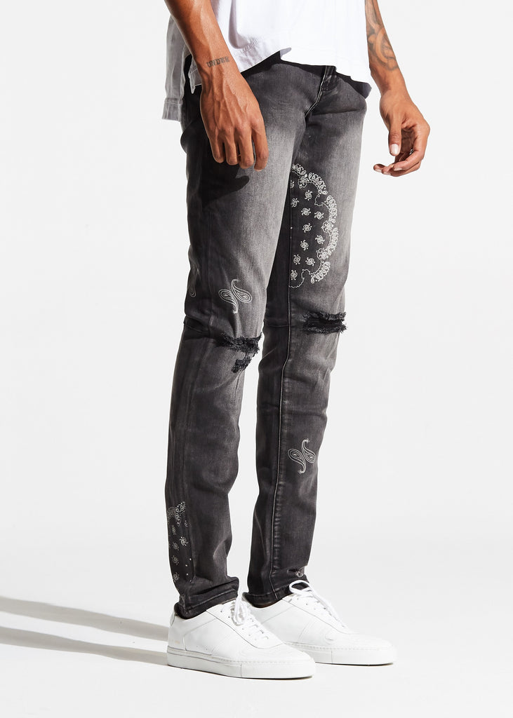 Atlas Denim (Charcoal Paisley)