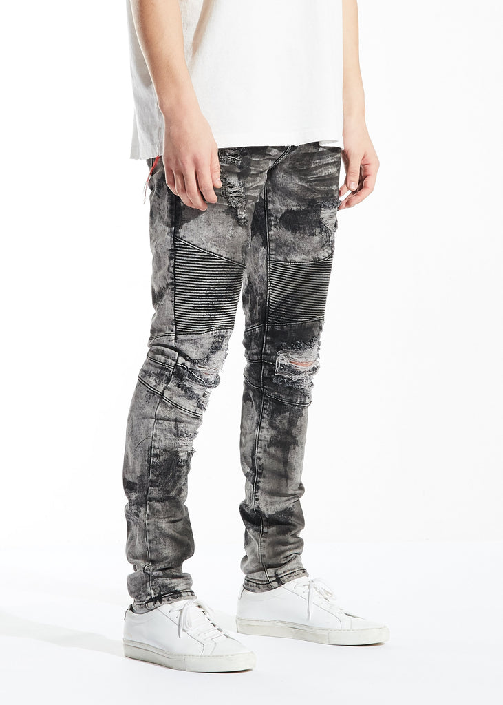 Sandro Biker Denim (Gray Acid Wash)