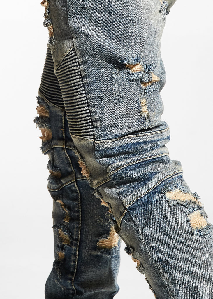 Hughes Biker Denim (Stone Wash)