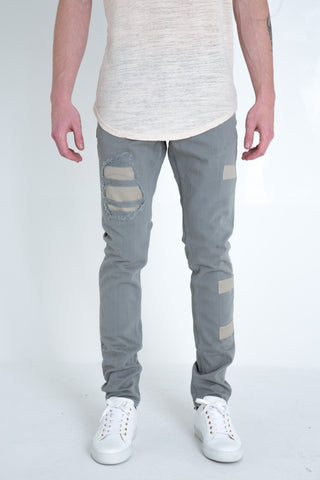 "Scamp Ripped Denim | Light blue denim Cream colored patchwork 100% cotton Skinny fit 34"" standard inseam"