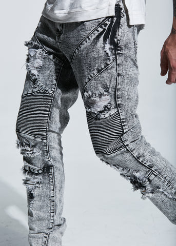 Bad Biker Denim (Grey Acid Wash)