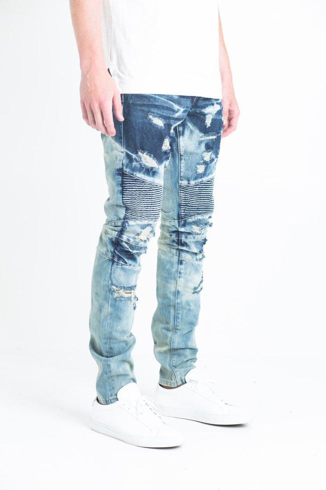 "Betsy Biker Denim | Indigo ombre fade biker denim Heavily destroyed rips 2 front zipper pockets 100% cotton Skinny fit 34"" standard inseam"