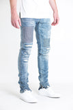 Camargue Patchwork Distressed Denim (Washed Blue)