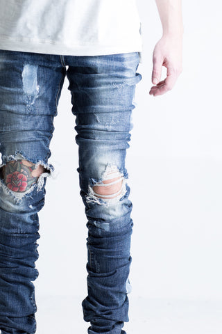 Cano Stacked Denim (Ripped Indigo)