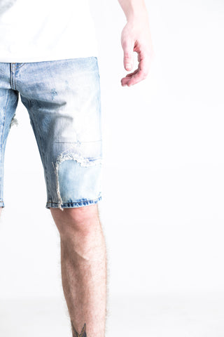 Challenge Patchwork Denim Shorts (Blue Wash)