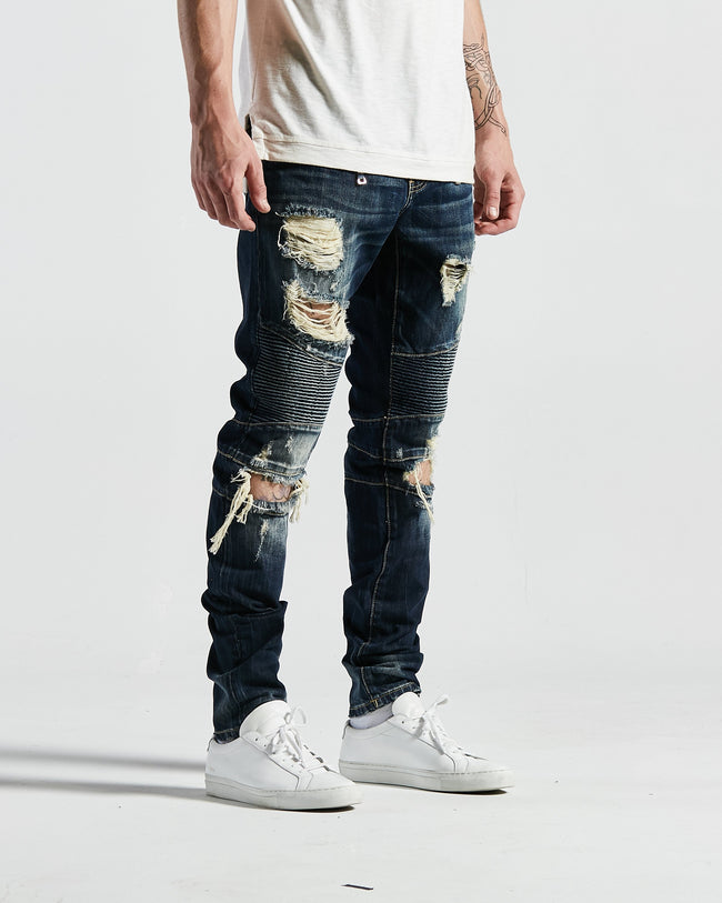 Andre Biker Denim in Indigo Wash