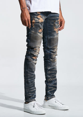 Turkish Biker Denim In Vintage Stone Blue