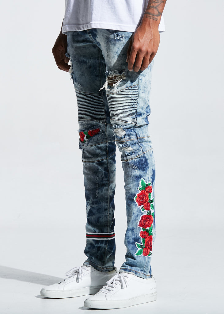 Costello Biker Denim (Blue Bleach Rip)