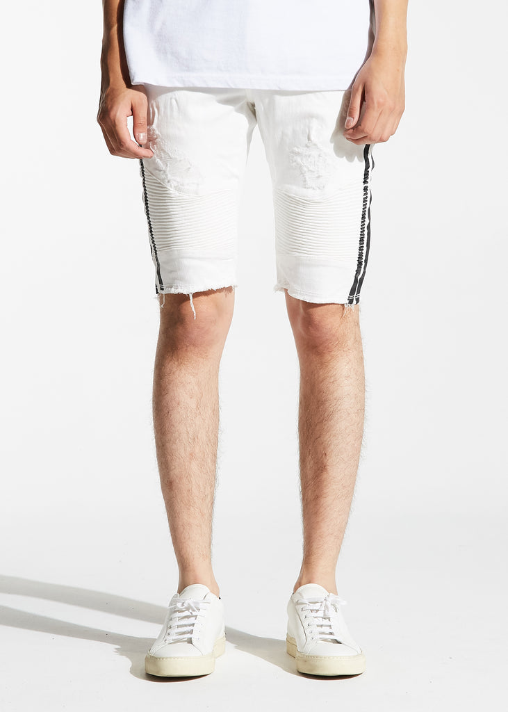 Bolt Biker Shorts (White/Black)