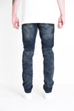 "Eldorado Ripped Denim | Vintage blue washed denim Distressed with unexposed rips 100% cotton Skinny fit 34"" standard inseam"
