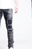 "Ellis Ripped Denim | Embellish X Quincy Capsule Collection Charcoal washed denim Distressed patchwork with biker ribbing details 100% cotton Skinny fit 34"" standard inseam"