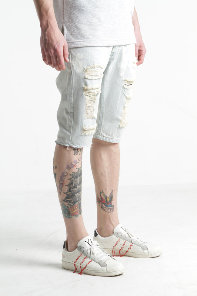 Scaglietii Patchwork Denim Shorts (Light Blue Wash)