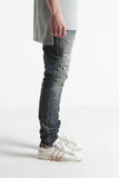 Rossa Patchwork Distressed Denim (Dark Blue)