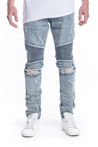 Caprice Ripped Biker Denim (Stone Wash)