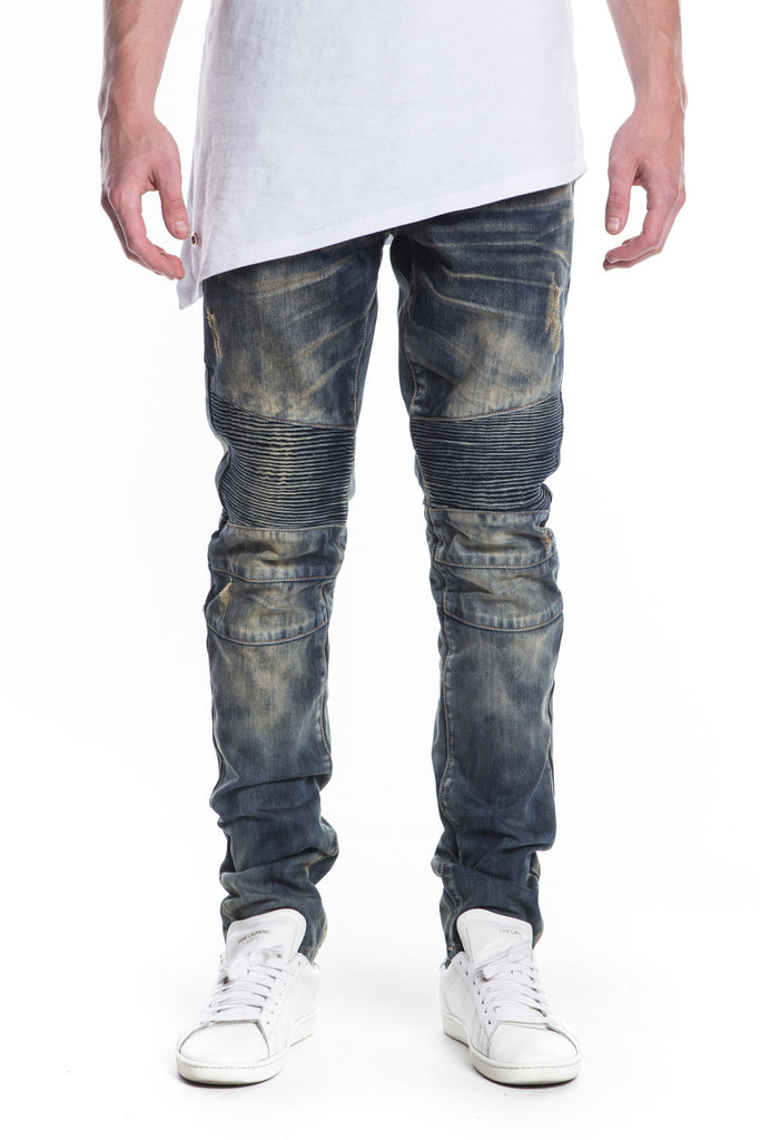 Cutlass Ripped Biker Denim (Blue Indigo)