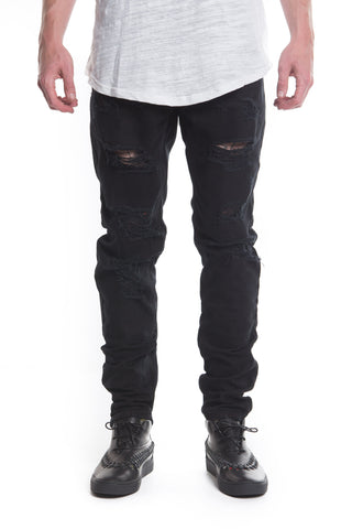 Bolt Biker Denim Black (Pink Stripe)