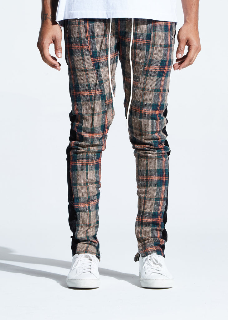 Bukshot Plaid Track Pants (Brown/Orange)