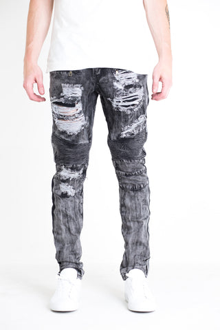 Laferrari Ripped Biker Denim (Black Acid Wash)