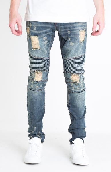 LincoIn Biker Denim (Blue Distressed)