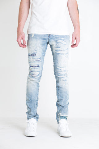 Mondial Patchwork Distressed Denim (Light Blue Wash)