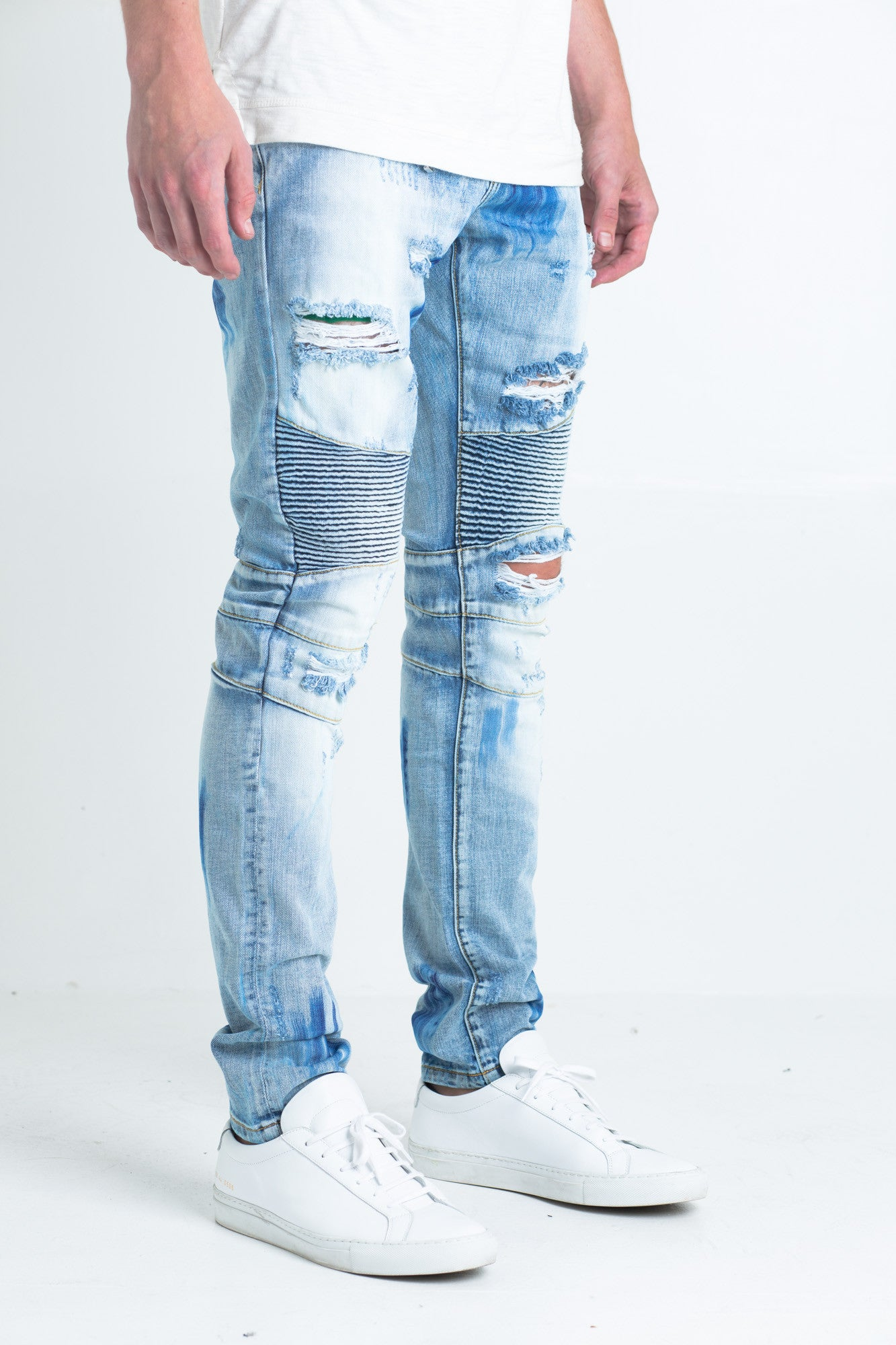"Wilma Biker Denim | Light blue bleach washed biker denim Detailed biker ribbing on front knee/side thigh area 2 front zipper pockets 100% cotton Skinny fit 34"" standard inseam"