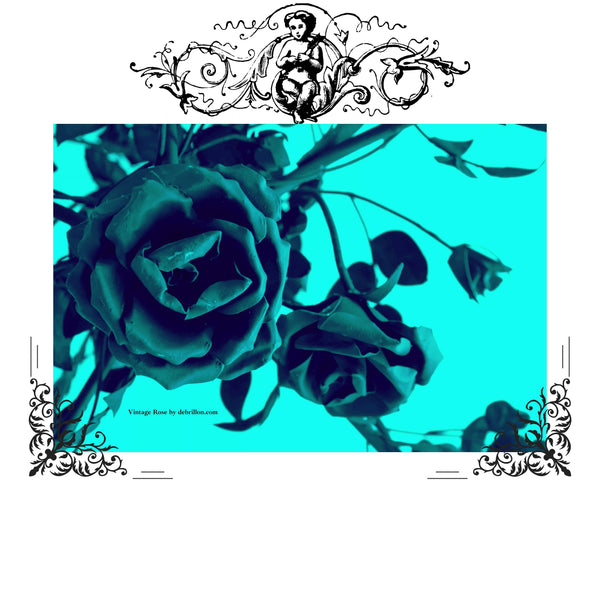 Vintage Rose Blue Baroque on White