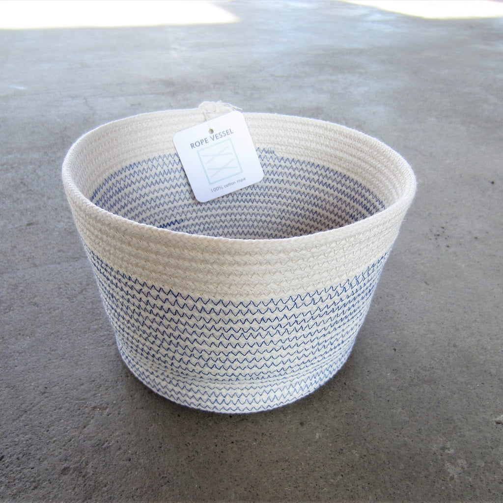 "Rope Vessel: Blue 6.5"" Cylinder"