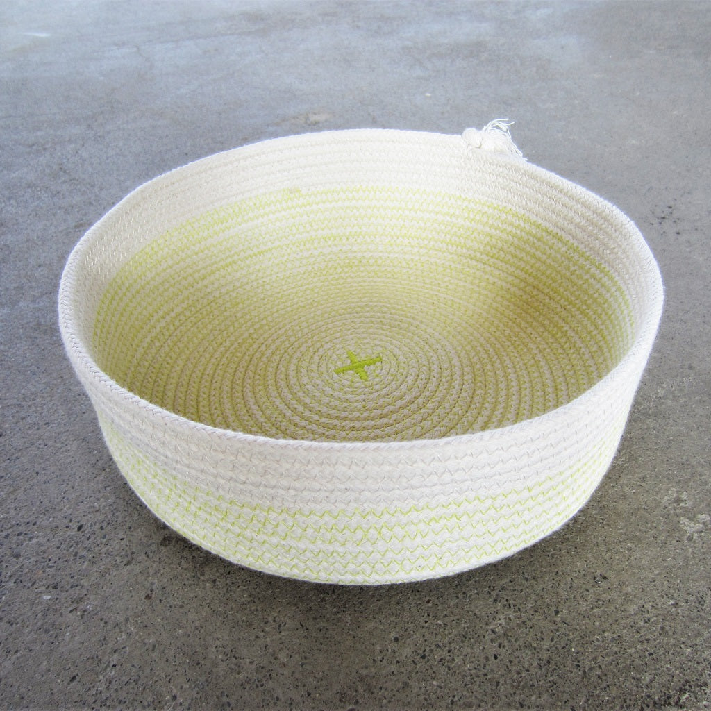 "Rope Vessel: Yellow 8"" Half Cylinder"