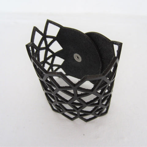 Black Leather Geometric Cutout Bracelet