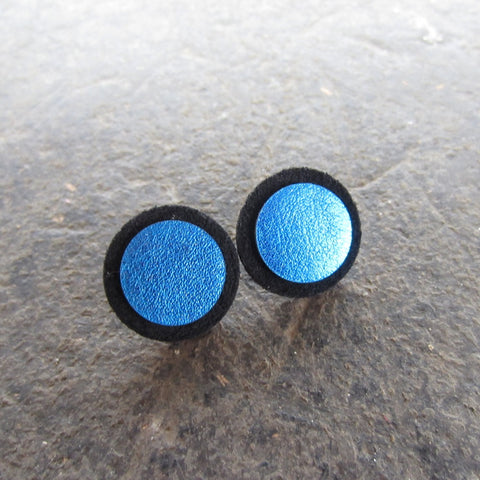 Blue Dot Leather Earrings