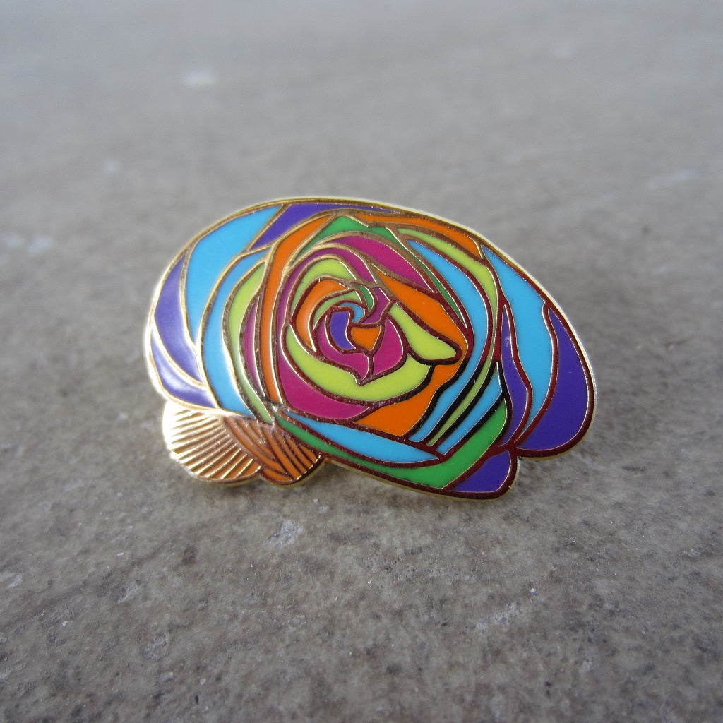Enamel Brain Pin: Multi Rose