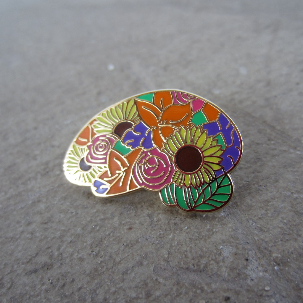 Enamel Brain Pin: Multi Floral