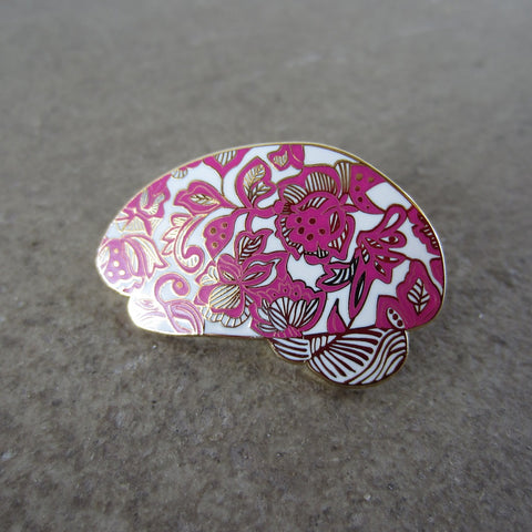 Enamel Brain Pin: Pink Lace