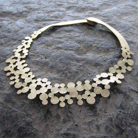 Gold Bubbles Leather Necklace