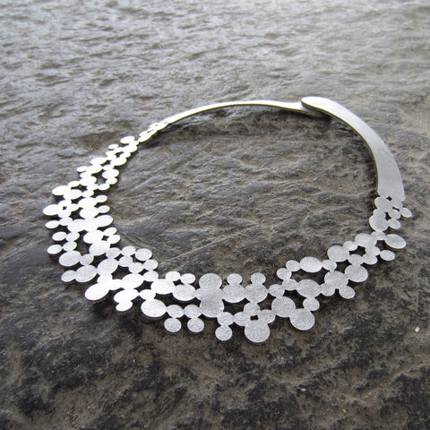 Silver Bubbles Leather Necklace
