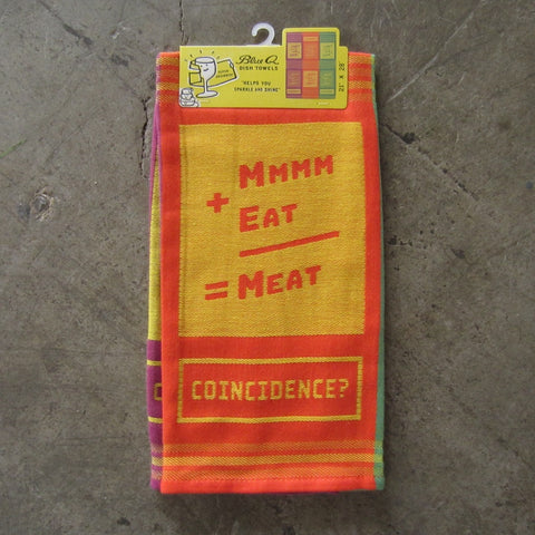 Woven Dish Towel: Mmm+Eat=Meat