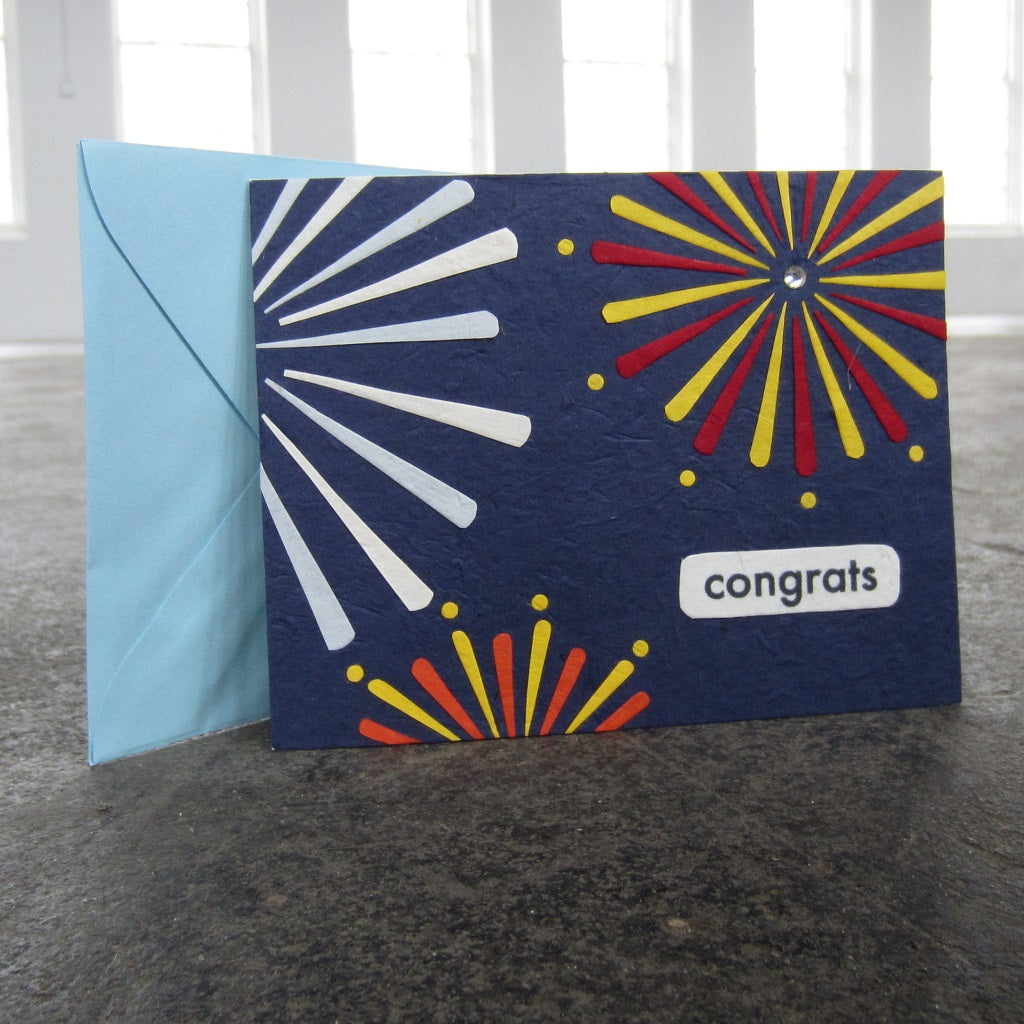 Greeting Card: Congrats Fireworks