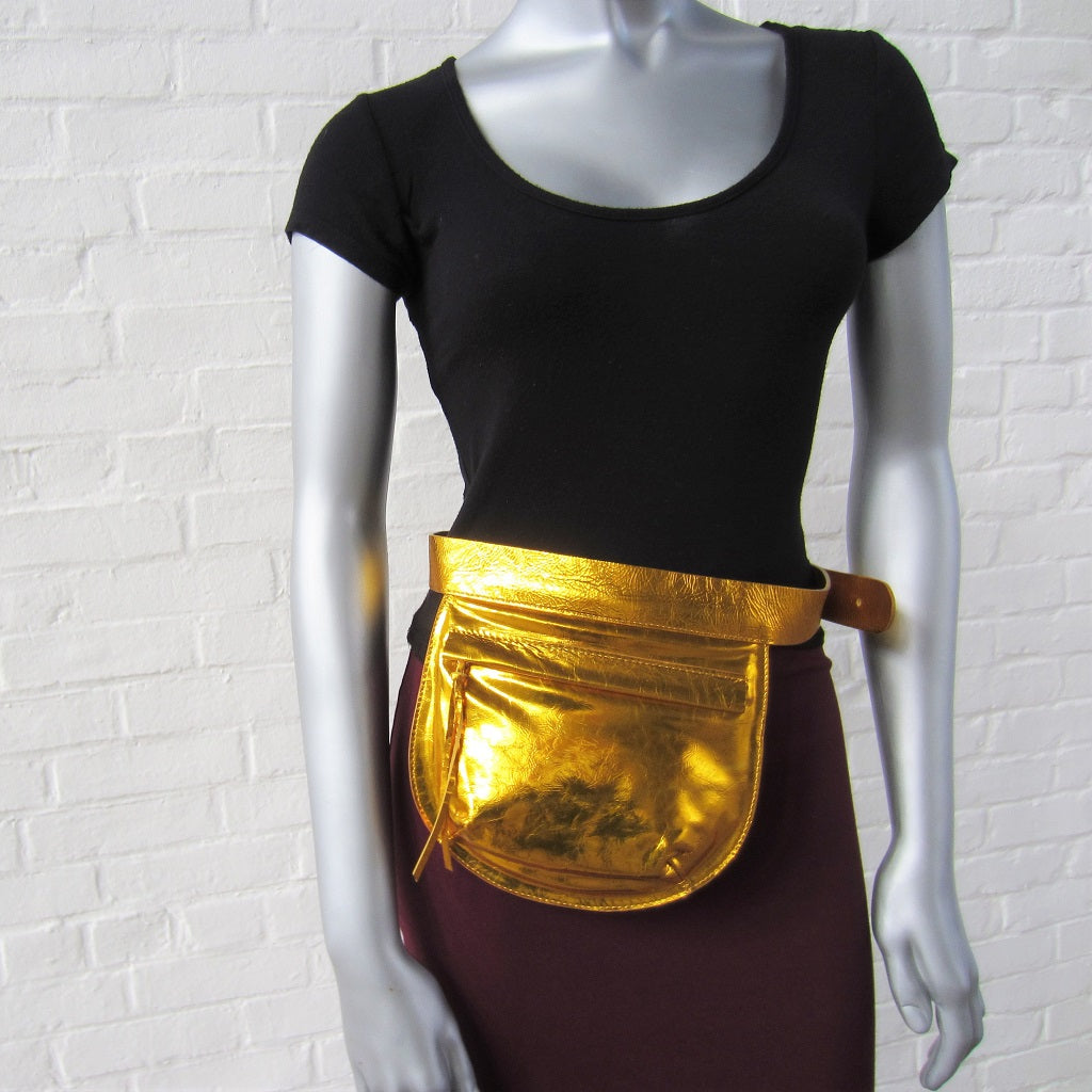 Sun Gold Leather Belt Bag